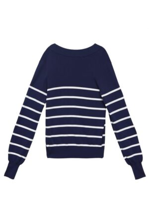 Contrast striped deep V-neck knitted cardigan