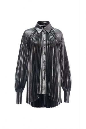 Metallic Pleated Long-sleeved Shirt