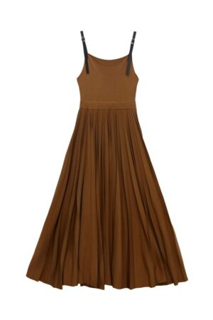 Knitted Pleated Dress With Leather Strap