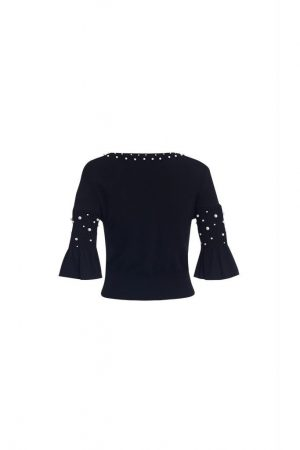 Pearl Flared Sleeve Knitted Top