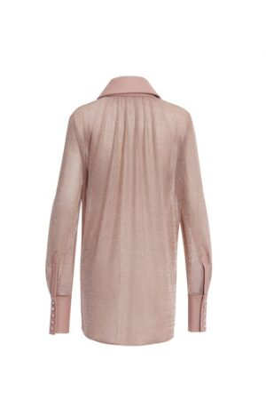 Metallic Paneled Sheepskin V-neck Shirt