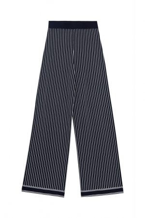 Navy Striped Knit Straight Pants