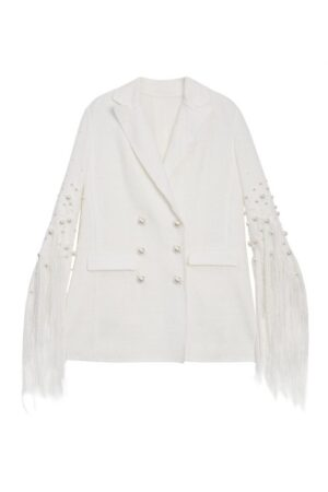 Pearl Knitted Jacket With Fringed Cuffs