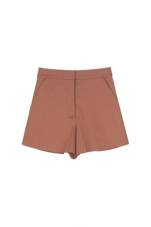 Sugar Almond-Colored High-Waisted Shorts