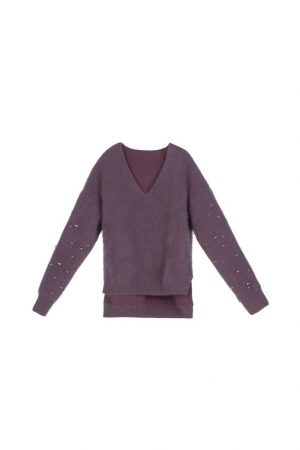 Purple V-Neck Raindrop Sweater
