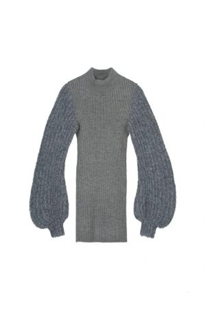 Grey Bubble Sleeves Closed In A Knitted Dress