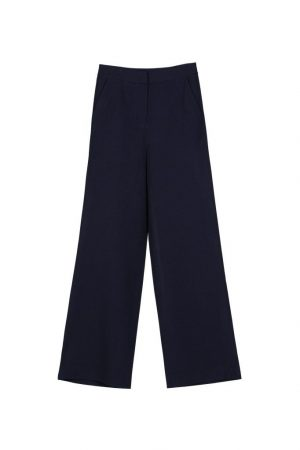 Dark Blue Wide-Leg Trousers