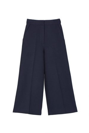 Dark Blue Straight Cropped Pants