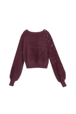 Fuchsia Raindrop Round-Neck Knitted Sweater