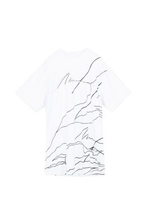 Black And White LOOK Mountain Curve Profile T-Shirt