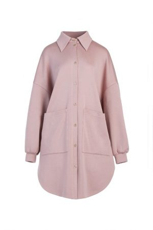 Mist Powder Double Pocket Wool Coat