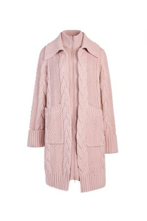 Pink Stacked Knitted Coat