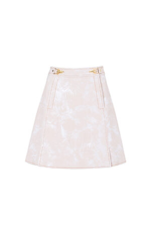 Floral Pink Metal Buckle Embossed Skirt