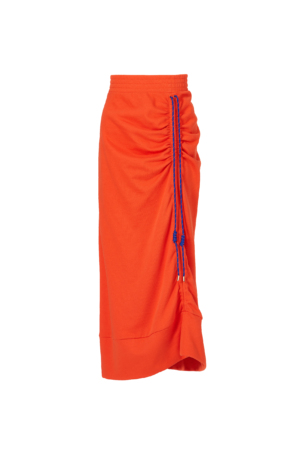 Orange Drawstring Knitted Skirt
