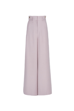 Floral Pink High-Rise Wide-Leg Trousers