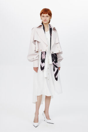 Floral Pink Layered Trench Coat
