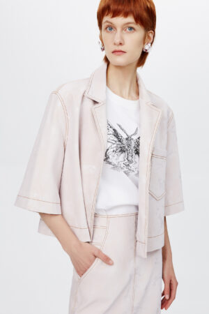 Floral Pink Embossed Shirt Jacket
