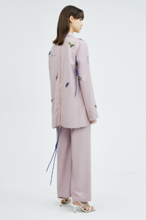 Floral Pink Embroidered Drawstring Silhouette Suit