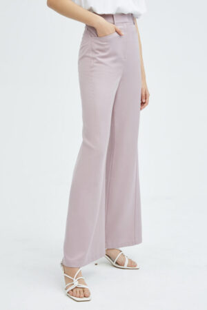 Floral Pink Mid-Rise Wide-leg Trousers
