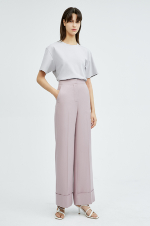 Floral Pink Straight-Leg Cuffed Trousers
