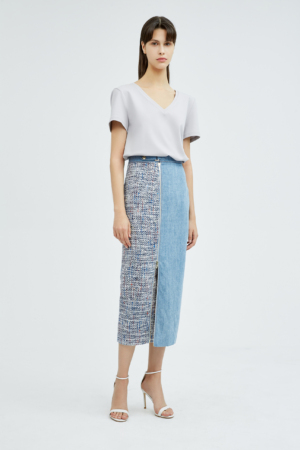 Tweed Patchwork Denim Skirt