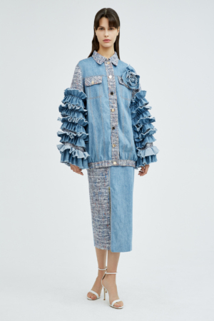 Petal-Shaped Sleeve Tweed Denim Jacket