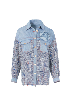 Tweed Patchwork Shirt-Style Denim Jacket