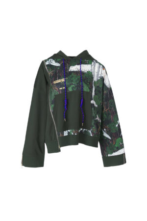 Loose Forest Green Jungle Print Hoodie