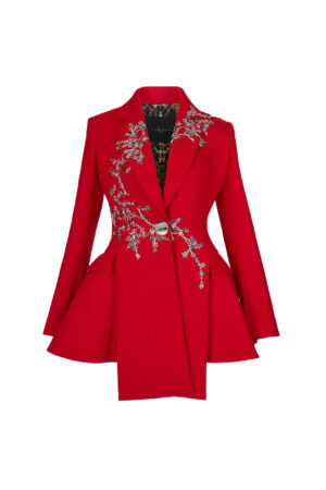 Irregular hem Embroidered Red Suit