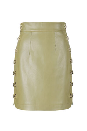 Jungle Green Metal Button Skirt