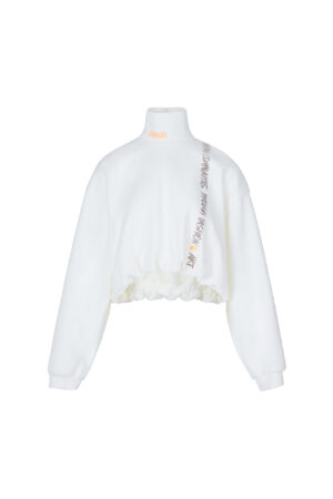 Stand-up Collar Embroidered Printed Sweatshirt