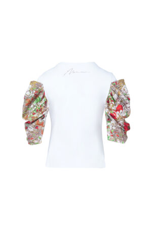 Gigot Sleeve Patchwork Printed T-shirt