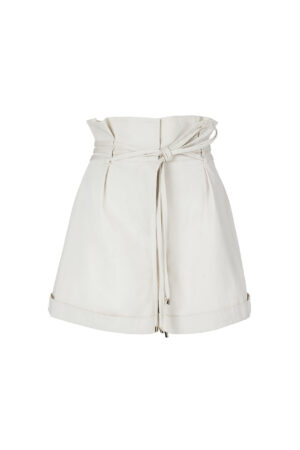 High waisted shorts with straps and pleats
