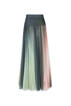 Multicolor pleated skirt with high waist