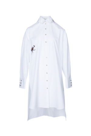 Embroidered Long Silhouette Shirt
